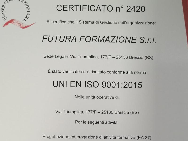 Certificato di qualità UNI EN ISO 9001:2015